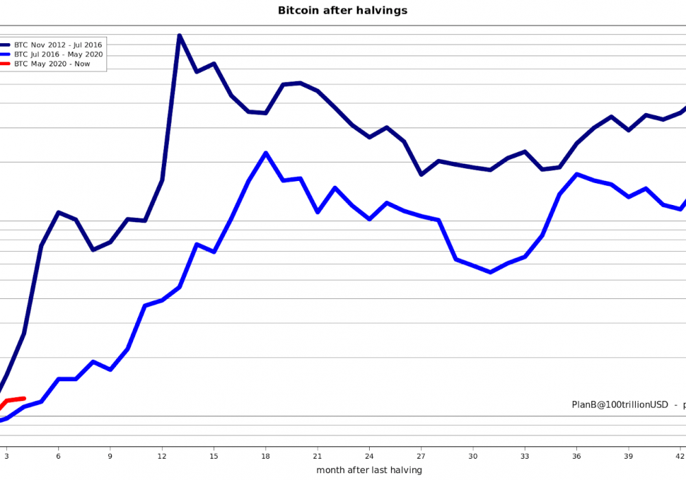 Bitcoin mirrors gains of past halvings, suggesting $41K price in 2020